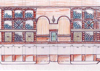 Variante Weinkeller Wand Abwickklung – Skizzen Entwurf für eine Interior Design Planung
