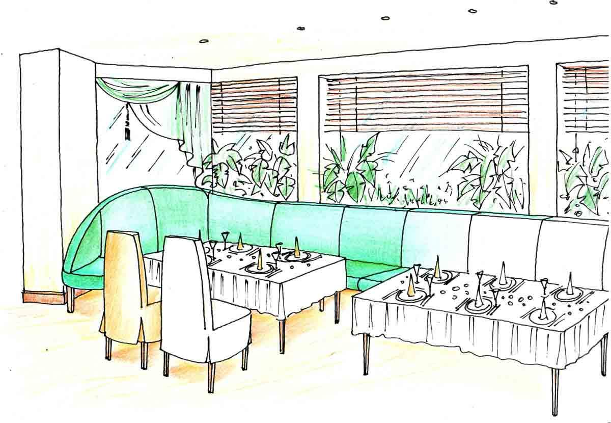 Variante 1 - Themen Restaurant Sitzbereich in Schwechat - Innenarchitektur Design Planung