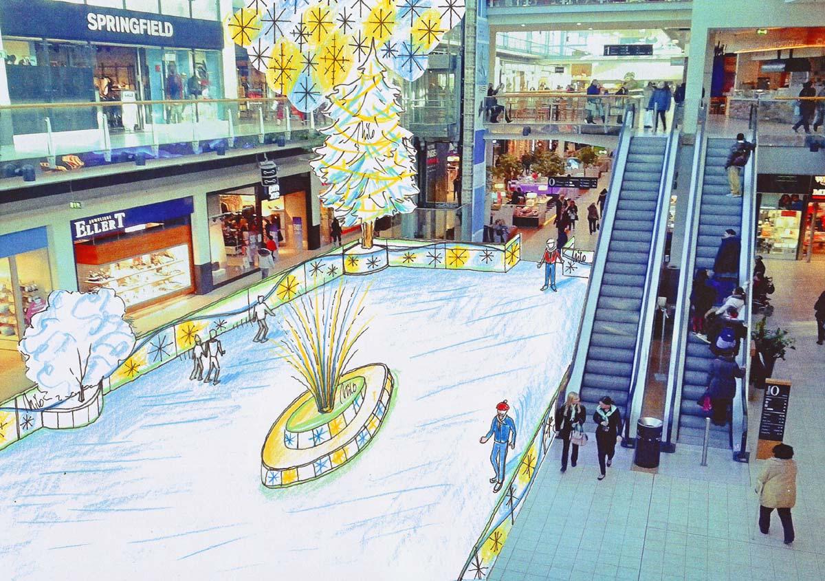Wien Shopping Center mit einer Ice Free Kunststoff Eislauf Anlage - mit der Ausstattung Dekoration Design Planung Milo´s