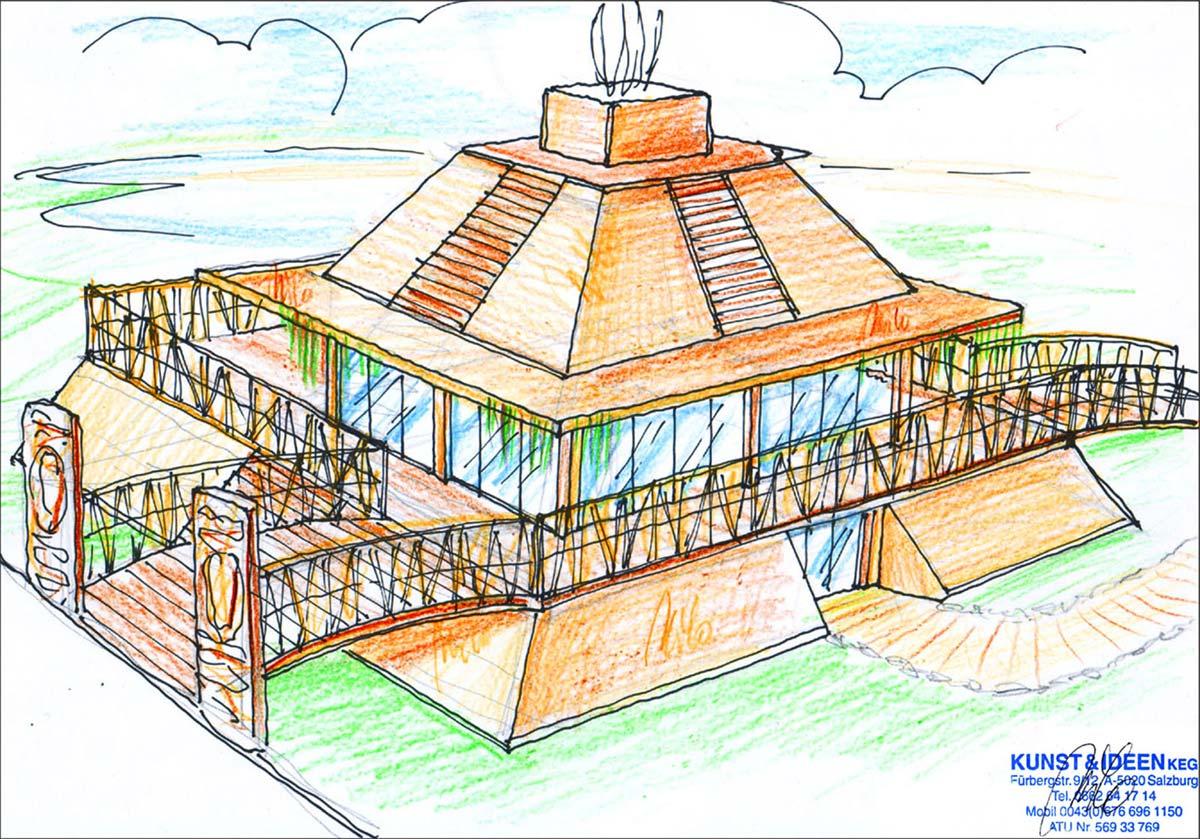 Minigolf Themen Gastronomie - im Stile eines Maya Tempels mit Eingang, Imbiss und Kassenbereich - Ausstattung Design Planung Milo