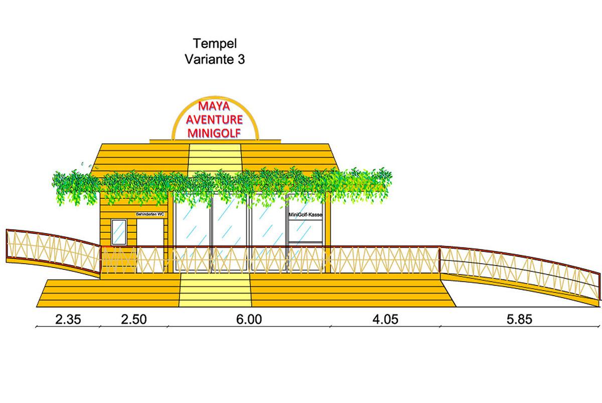 Gastro Variante Adventure Minigolf - technische Zeichnung der Themen Gastronomie - Design Planung