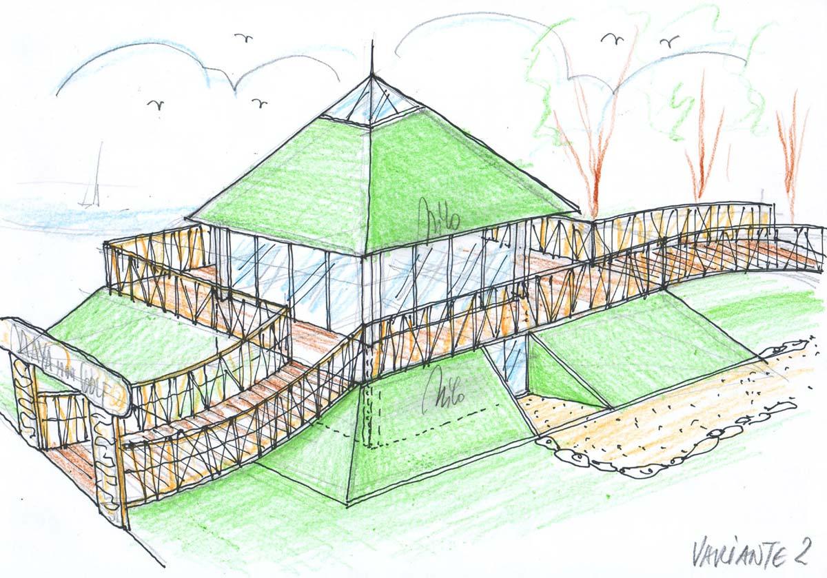 Themen Minigolf Planung - Gastronomie Variante - Skizzen Design Planung für den Eingang und Imbiss