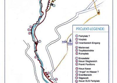 Erlebnis Wander Weg Kitzloch Klamm - Grundriss Entwicklung mit Planung der Wege, Attraktionen und Stationen