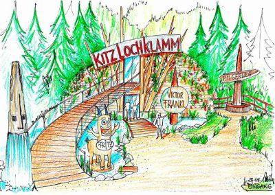 Kitzloch Klamm Wanderweg - Milo´s alternative Design Eingangsgestaltung in die Klamm