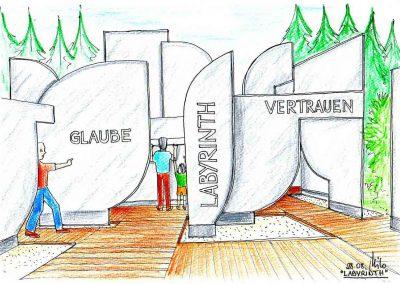Pilger Wanderweg Kitzlochklamm - ein Labyrinth am Weg - Objekte von Regionalen Künstlern - Konzept Design Planung Milo