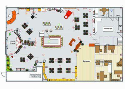 Grundriss des Showrrom Verkaufsraum für Berufsbekleidung Design Planung von Milo