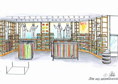 Skizze Shop und Showroom Berufsbekleidung - eine Konzept Design Planung von Milo