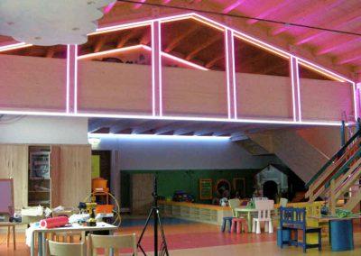 Effektbeleuchtung der Galerie im Kinder Fun Park designed by Milo
